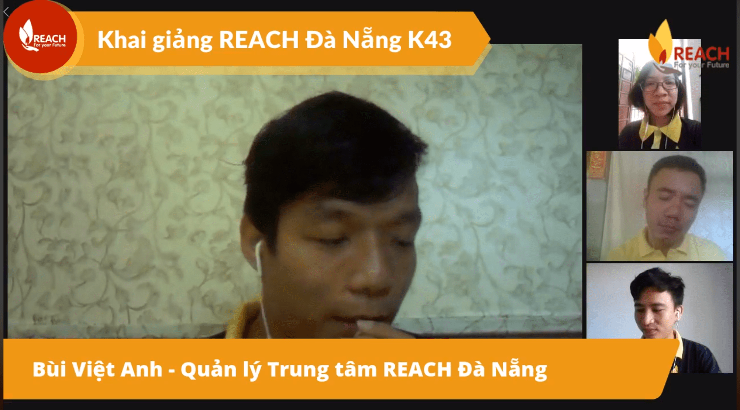 Teachers at REACH Danang welcome new students on livestream